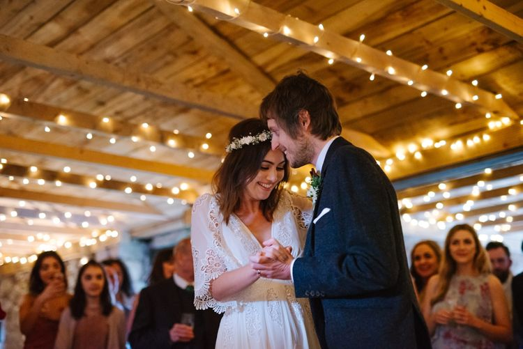 Windmill Barn Wedding With Bride In Bespoke Dress With Delicate Flower Crown & Images And Film From Tub Of Jelly Alternative Wedding Photography