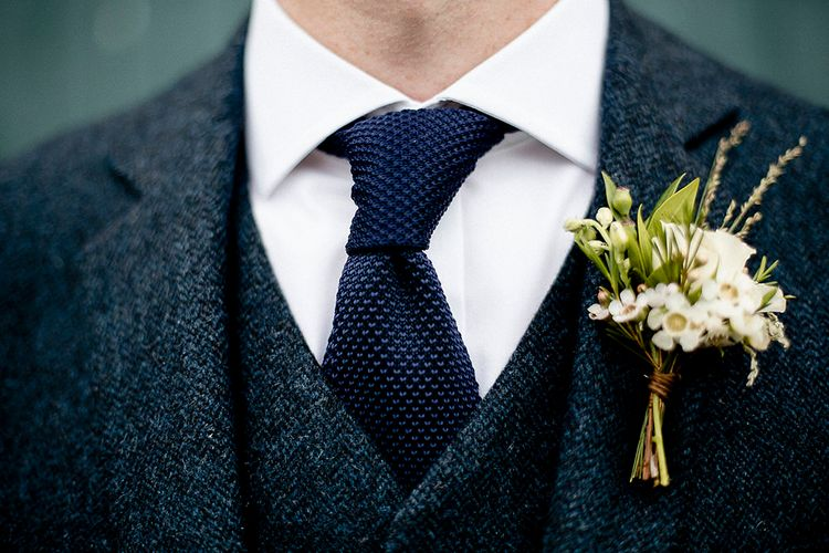 Groom Navy Blue Wool Walker and Slater Wedding Suit | Eleanor Howarth Photography
