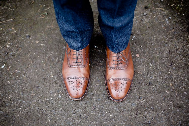 Brown Brogue Grooms Shoes | Eleanor Howarth Photography