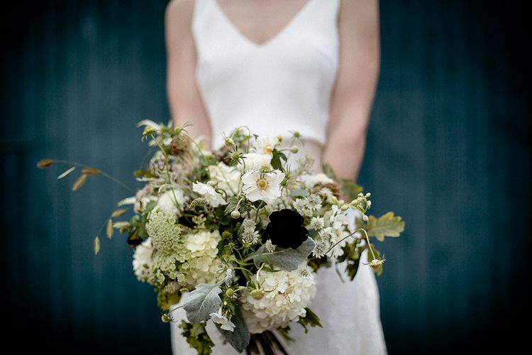 Organic White Bouquet | Bride in Charlie Bear Payton Slip & Augustine Over Skirt | Eleanor Howarth Photography