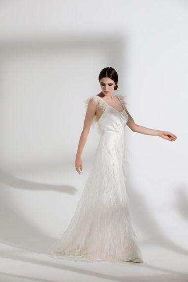"Iris Ostrich Camisole & Marabou Skirt by <a href=""https://www.halfpennylondon.com/"" target=""_blank"">Halfpenny London</a>"