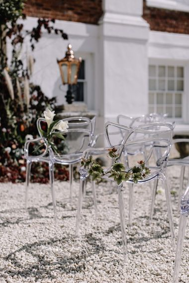 Ghost Chairs by Wed Head | Outdoor Wedding Ceremony At Pynes House Devon | Image by Rebecca Goddard