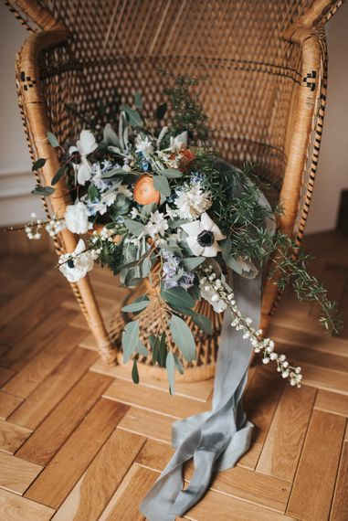 Wedding Bouquet With Peach Tones And White Anemones