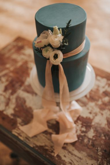Blue Wedding Cake With Blush Pink Ribbon