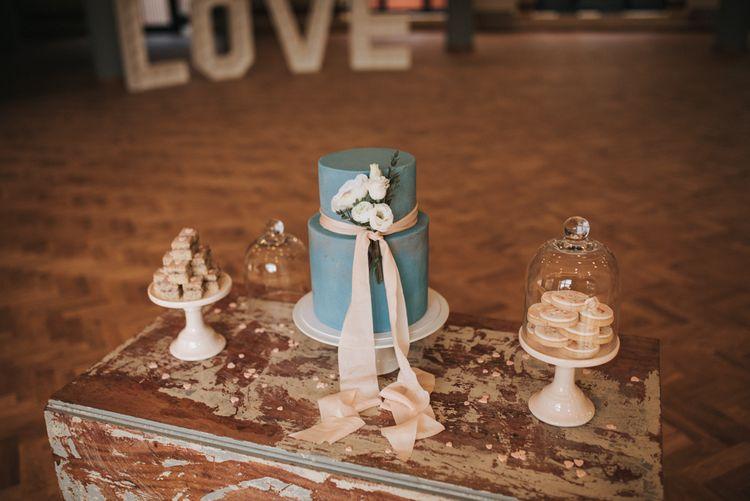 Blue & Dusky Pink Wedding Dessert Table