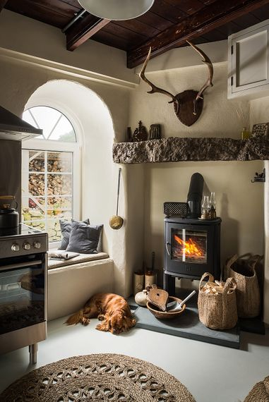 Log Burner in Kitchen | The Stack Cornwall | Intimate Exclusive Hire Wedding Venue