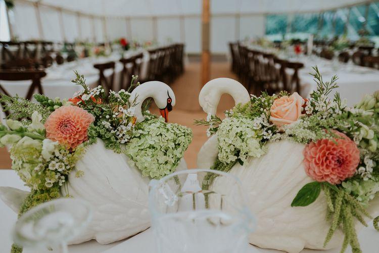 Ceramic Swan Vases For Wedding Decor