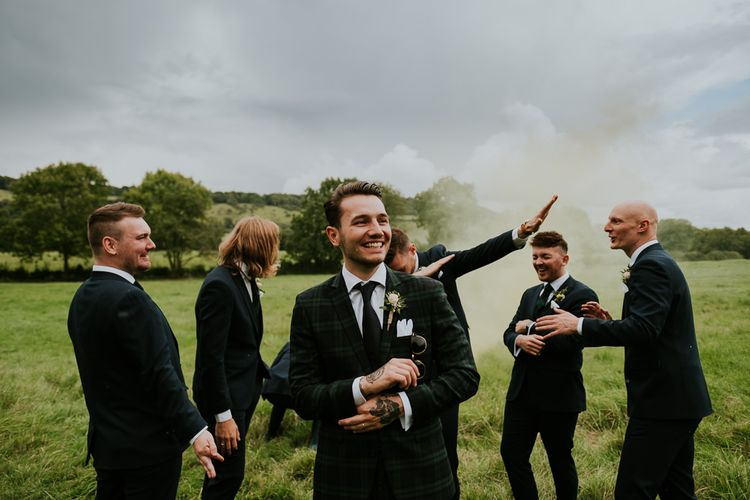 Tim Walker Inspired Marquee Wedding With Smoke Bombs, Balloons, Floral Print & Swan Motif With Images From Joanna Nicole Photography