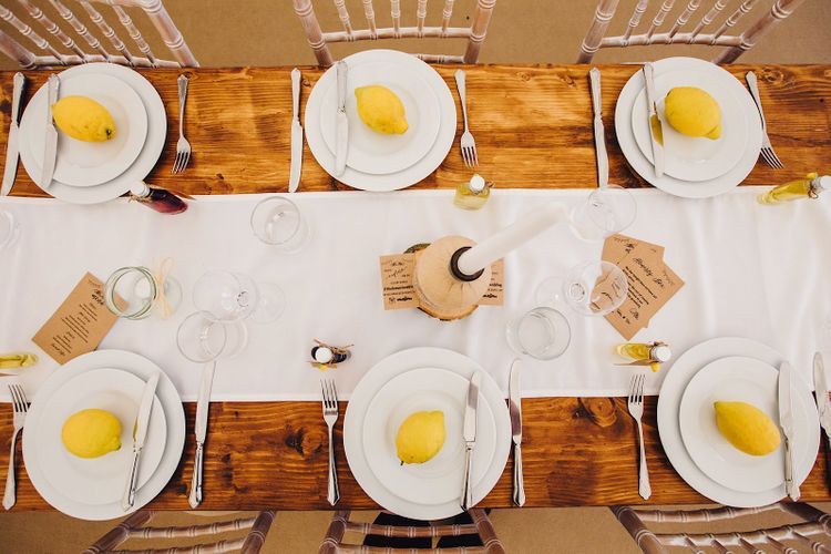 Table Scape with Lemons   DIY At Home Marquee Wedding   J S Coates Wedding Photography