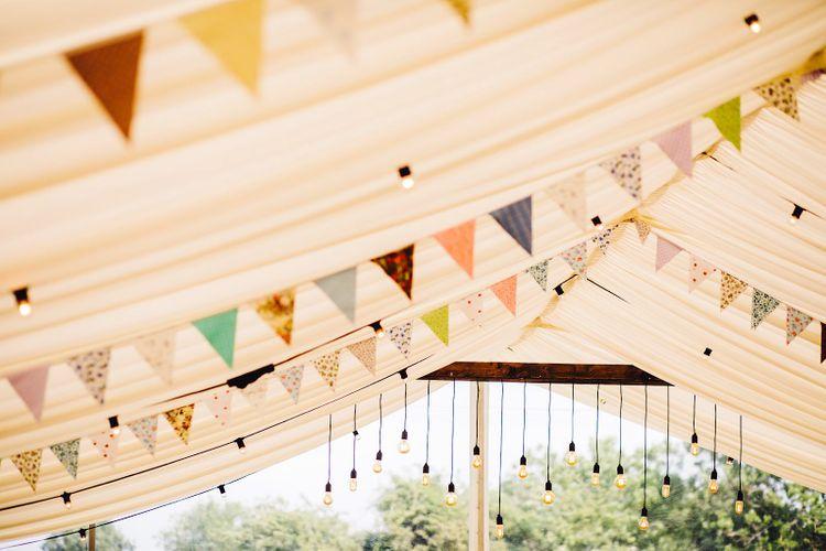 Bunting Wedding Decor   DIY At Home Marquee Wedding   J S Coates Wedding Photography