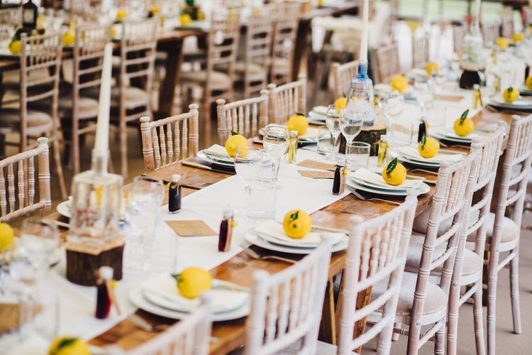 Rustic Lemon Tabelscape   DIY At Home Marquee Wedding   J S Coates Wedding Photography