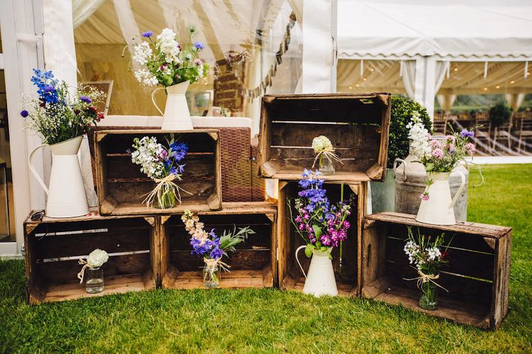 Wooden Crate Wedding Decor   DIY At Home Marquee Wedding   J S Coates Wedding Photography