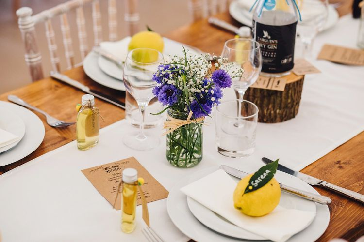 Place Setting with Lemons   DIY At Home Marquee Wedding   J S Coates Wedding Photography