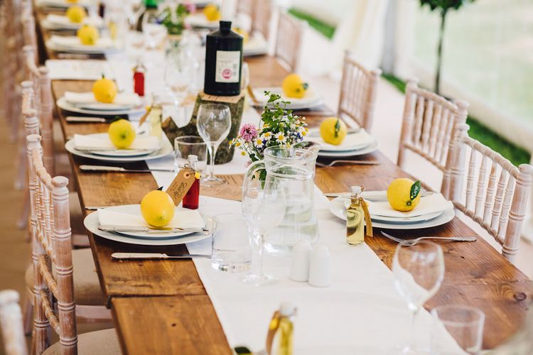 Rustic Tablescape   DIY At Home Marquee Wedding   J S Coates Wedding Photography