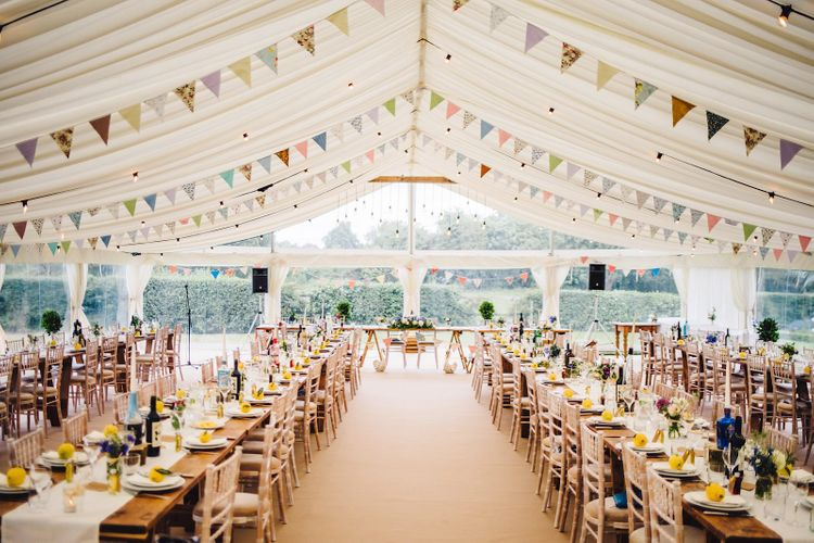 Bunting Decor   DIY At Home Marquee Wedding   J S Coates Wedding Photography