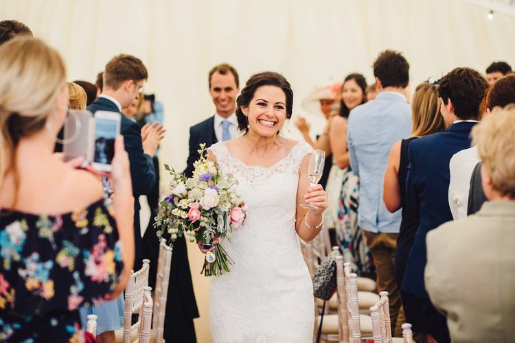 Bride in Lace MoriLee Gown   DIY At Home Marquee Wedding   J S Coates Wedding Photography