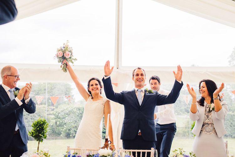 Bride in Morilee Gown   Groom in Hugo Boss Suit   DIY At Home Marquee Wedding   J S Coates Wedding Photography