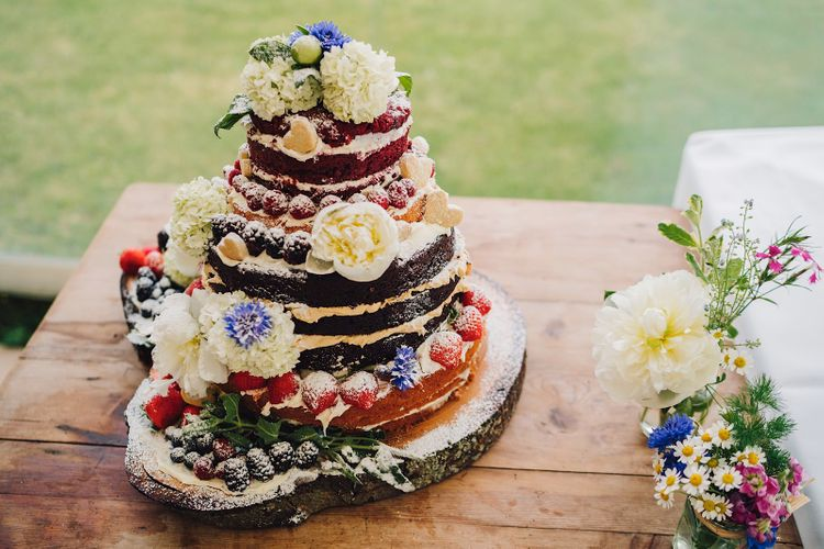 Homemade Naked Cake With Fruit   DIY At Home Marquee Wedding   J S Coates Wedding Photography