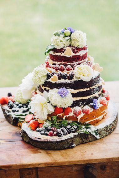 Homemade Naked Wedding Cake   DIY At Home Marquee Wedding   J S Coates Wedding Photography