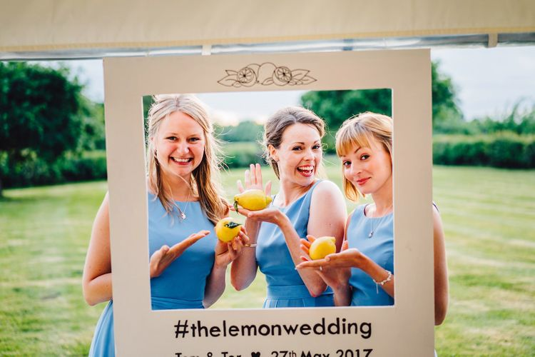 Bridesmaids in Blue Dresses   DIY At Home Marquee Wedding   J S Coates Wedding Photography