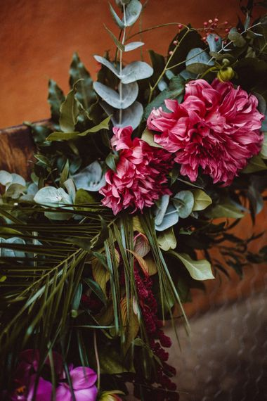 Tropical Green & Fuchsia Pink Wedding Flowers | Outdoor Wedding at Castellina de Miremont, Italy Planned & Styled by Come le Ciliegie Wedding & Events | Images by Effeanfotografie | Film by Headshot Weddings