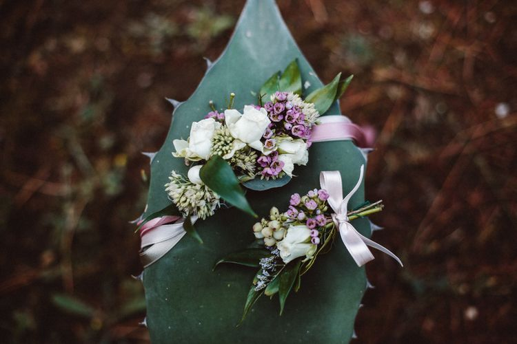 Buttonholes | Tropical Green & Fuchsia Pink Outdoor Wedding at Castellina de Miremont, Italy Planned & Styled by Come le Ciliegie Wedding & Events | Images by Effeanfotografie | Film by Headshot Weddings