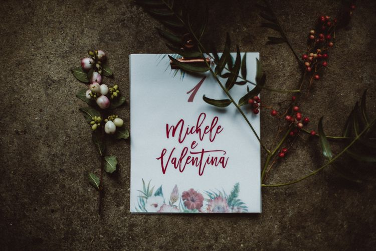 Wedding Stationery | Tropical Green & Fuchsia Pink Outdoor Wedding at Castellina de Miremont, Italy Planned & Styled by Come le Ciliegie Wedding & Events | Images by Effeanfotografie | Film by Headshot Weddings