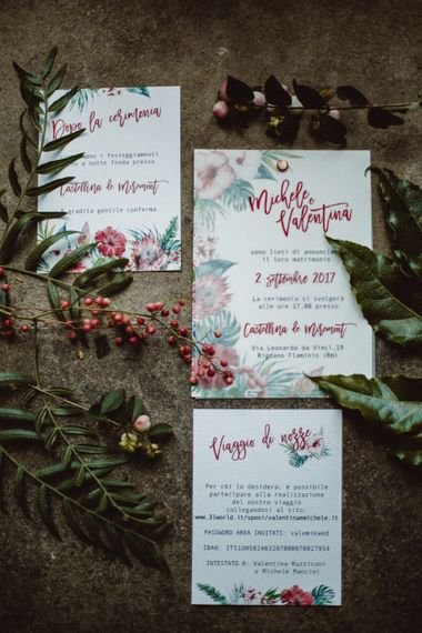 Wedding Stationery Suite | Tropical Green & Fuchsia Pink Outdoor Wedding at Castellina de Miremont, Italy Planned & Styled by Come le Ciliegie Wedding & Events | Images by Effeanfotografie | Film by Headshot Weddings