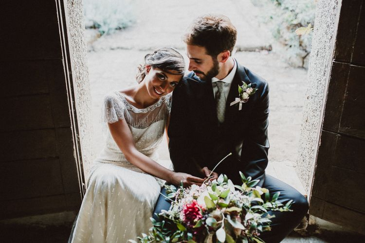 Bride in Jenny Packham Dolly Bridal Gown | Groom in Four Stroke Suit | Tropical Green & Fuchsia Pink Outdoor Wedding at Castellina de Miremont, Italy Planned & Styled by Come le Ciliegie Wedding & Events | Images by Effeanfotografie | Film by Headshot Weddings