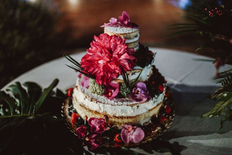 Semi Naked Wedding Cake with Floral Decor | Tropical Green & Fuchsia Pink Outdoor Wedding at Castellina de Miremont, Italy Planned & Styled by Come le Ciliegie Wedding & Events | Images by Effeanfotografie | Film by Headshot Weddings