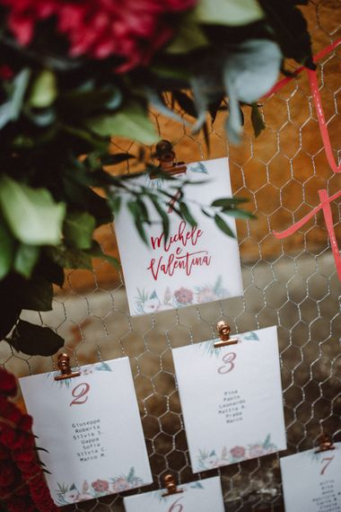 Table Plan | Tropical Green & Fuchsia Pink Outdoor Wedding at Castellina de Miremont, Italy Planned & Styled by Come le Ciliegie Wedding & Events | Images by Effeanfotografie | Film by Headshot Weddings