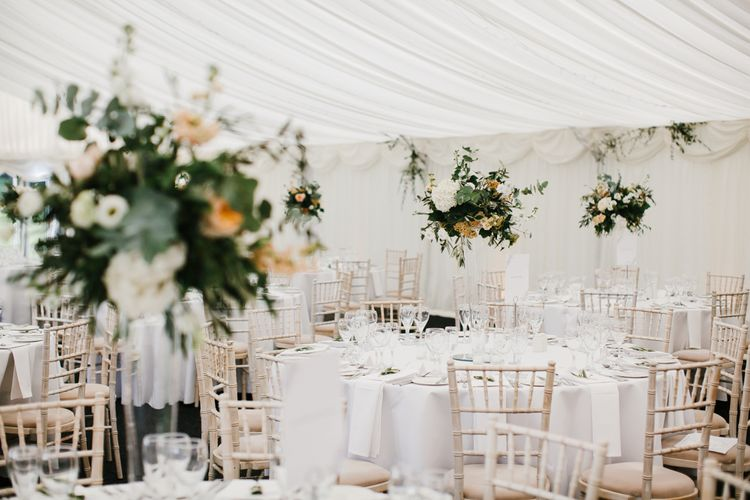 Neutral Toned Flowers For An Elegant Marquee Wedding