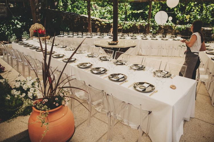 Elegant White Linen Dining Tables For Destination Wedding
