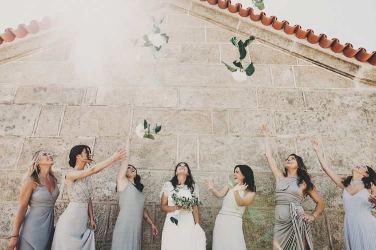 Bridesmaids In Dovetail Grey Dresses