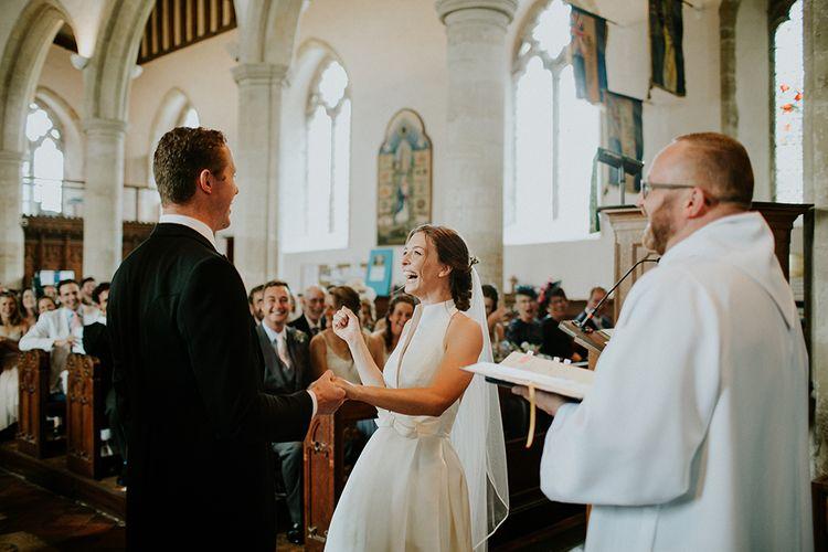 Beautiful bride in Jesus Peiro during wedding ceremony