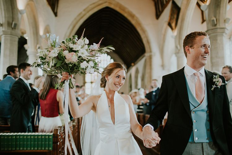 Such happiness. Walking down the aisle after marriage.