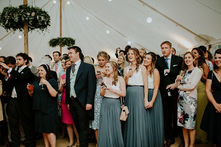 Beautiful smokey blue choice for the bridesmaids