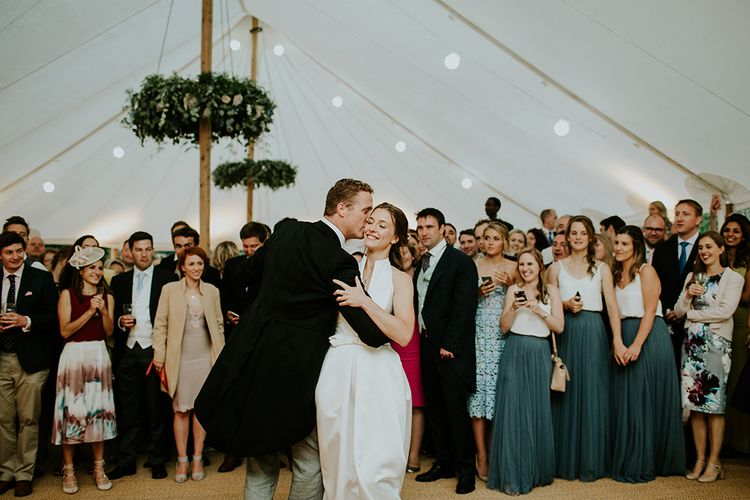 Bride and Groom Dance for their guests, bride wears Jesus Peiro