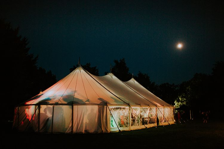 Gret use of Sperry tent for reception at wedding venue Kingsgate in Kent