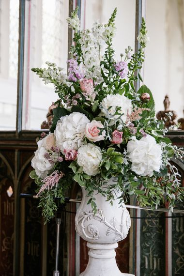 Urn Floral Arrangements For Church With White Hydrangea, Astilbe, Stocks And Pink Roses
