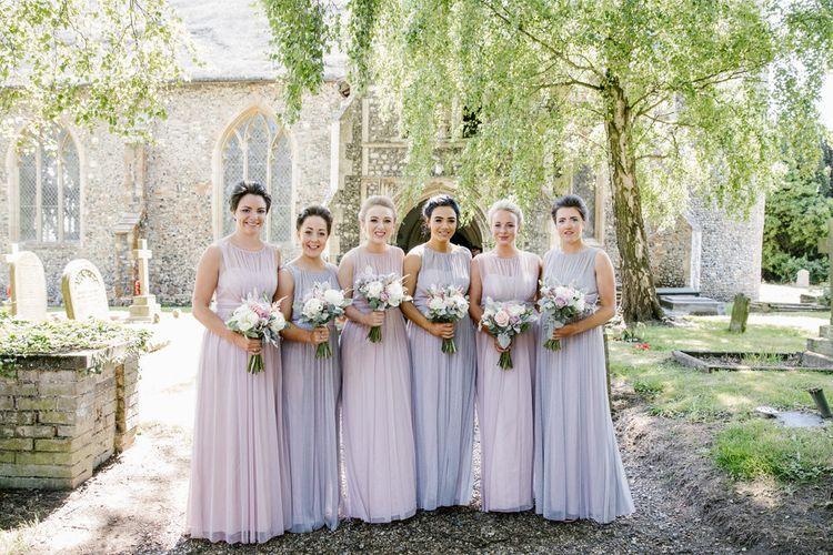 Bridesmaid In Pink & Purple Dresses From Debenhams