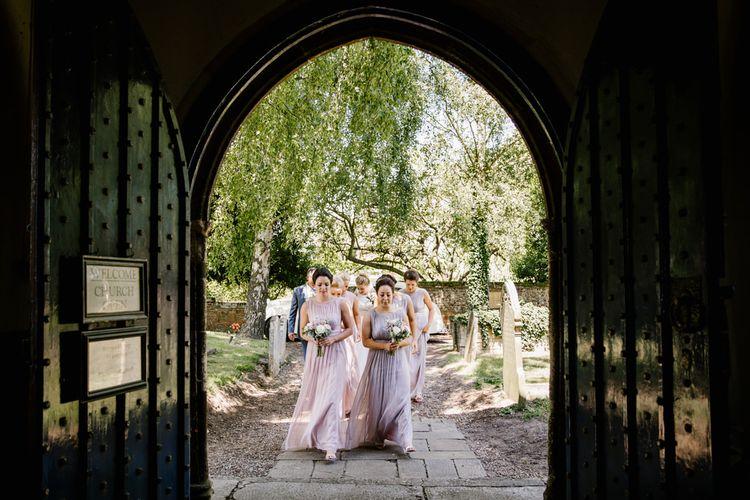 Bridesmaids In Pink & Purple Dresses From Debenhams