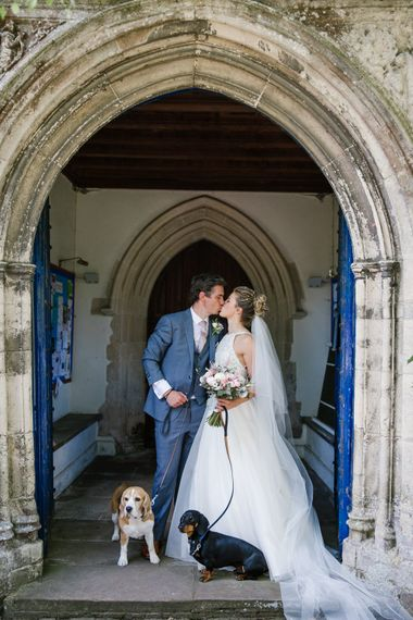 Bride & Groom With Dogs
