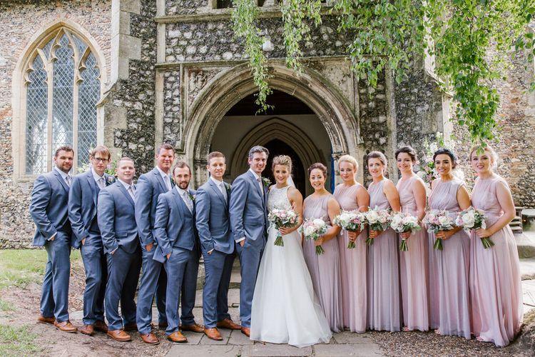 Wedding Party In Grey, Purple & Pink