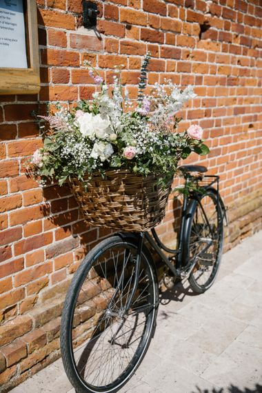 Vintage Bicycle Filled With Flowers Wedding Decor
