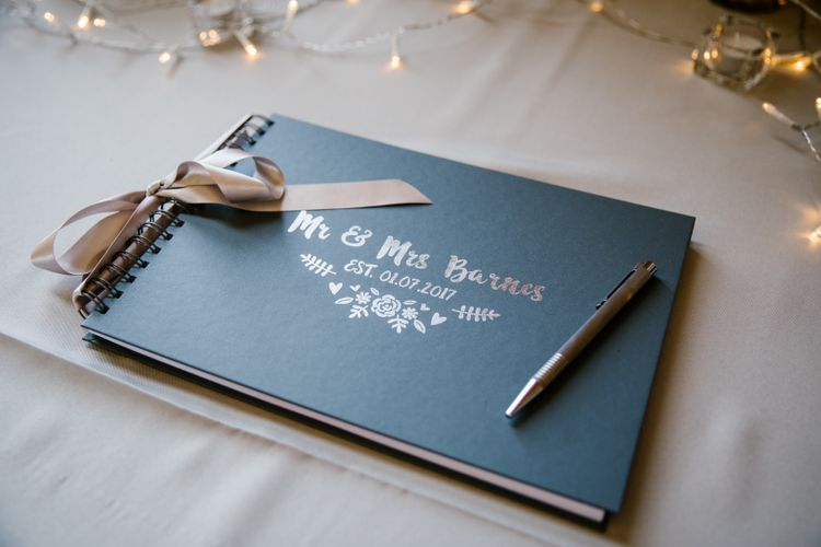 Elegant Wedding Guest Book With Gold Lettering
