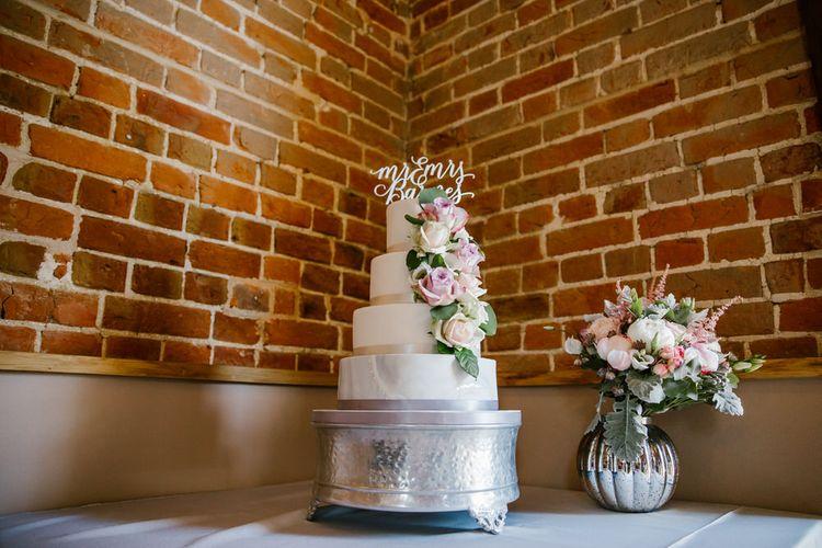 White Wedding Cake With Sugar Paste Flowers