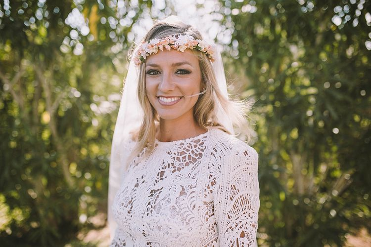 Bride in Yolan Cris Lace Wedding Dress & Flower Crown | Sara Frost Photography | AMS Love in Video