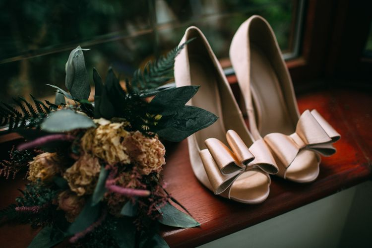 ASOS Bow Shoes & Folky Dokey Dried Flower Wedding Bouquet