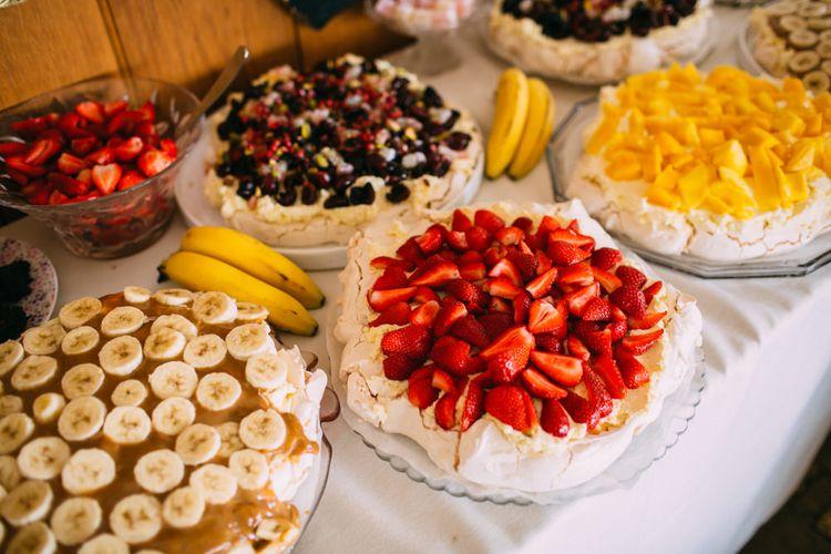 Different Fruit Pavlova's Dessert Table